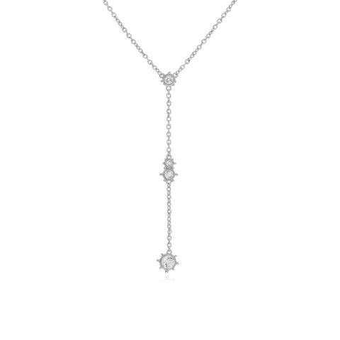RIPKA Santorini Y Necklace with Center White Topaz Cluster