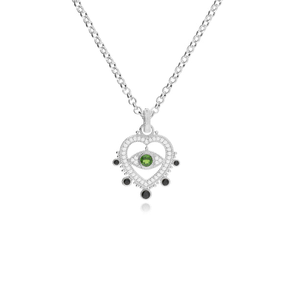 RIPKA Lucky Heart Shaped White Topaz, Chrome Diopside, & Black Spinel Evil Eye Necklace