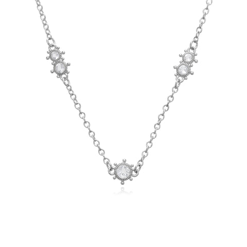 RIPKA Santorini Multi-Size White Topaz Bezel Set Necklace