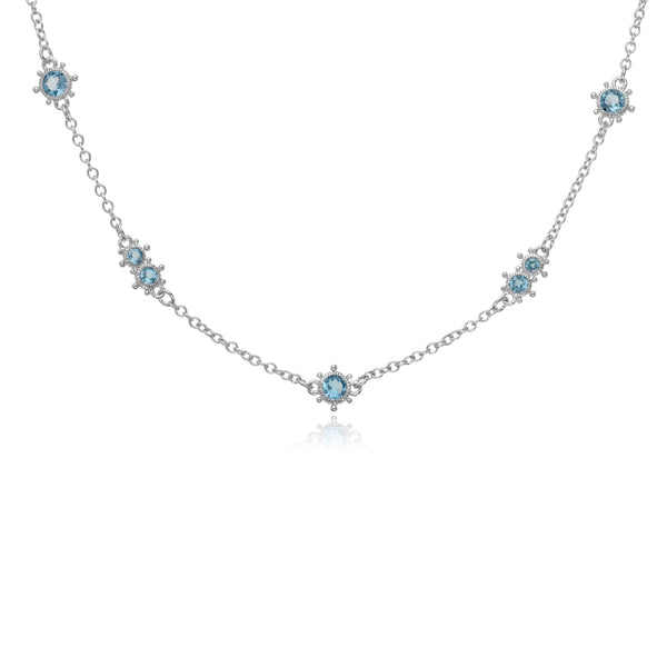 RIPKA Santorini Multi-Size Swiss Blue Topaz Bezel Set Necklace