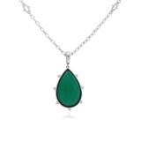 RIPKA Amalfi Pear Shape Green Chalcedony & Rock Crystal Doublet Pendant with White Topaz Accents