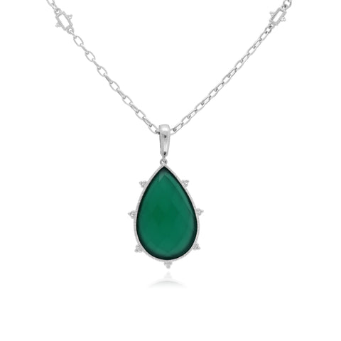 RIPKA Amalfi Pear Shape Green Chalcedony Pendant with White Topaz Accents