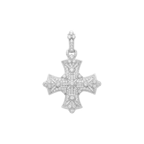 RIPKA Estate White Topaz Maltese Cross Pendant