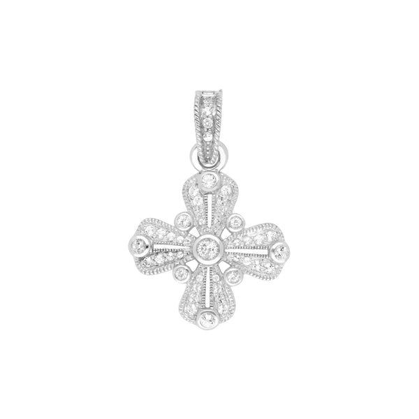 RIPKA Estate White Topaz Gothic Maltese Cross Pendant