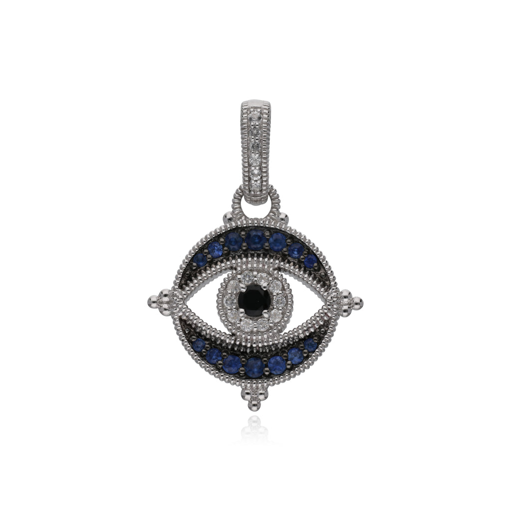 Little Luxuries Black Spinel, Blue Sapphire, & White Topaz Round Evil Eye Enhancer