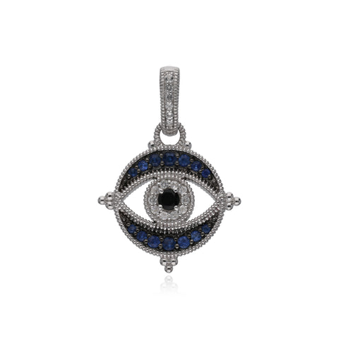 RIPKA Lucky Black Spinel, Blue Sapphire, & White Topaz Round Evil Eye Enhancer
