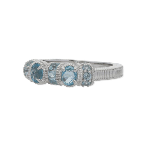 RIPKA Mardi Gras Multi Shape Sky Blue Topaz Band Ring