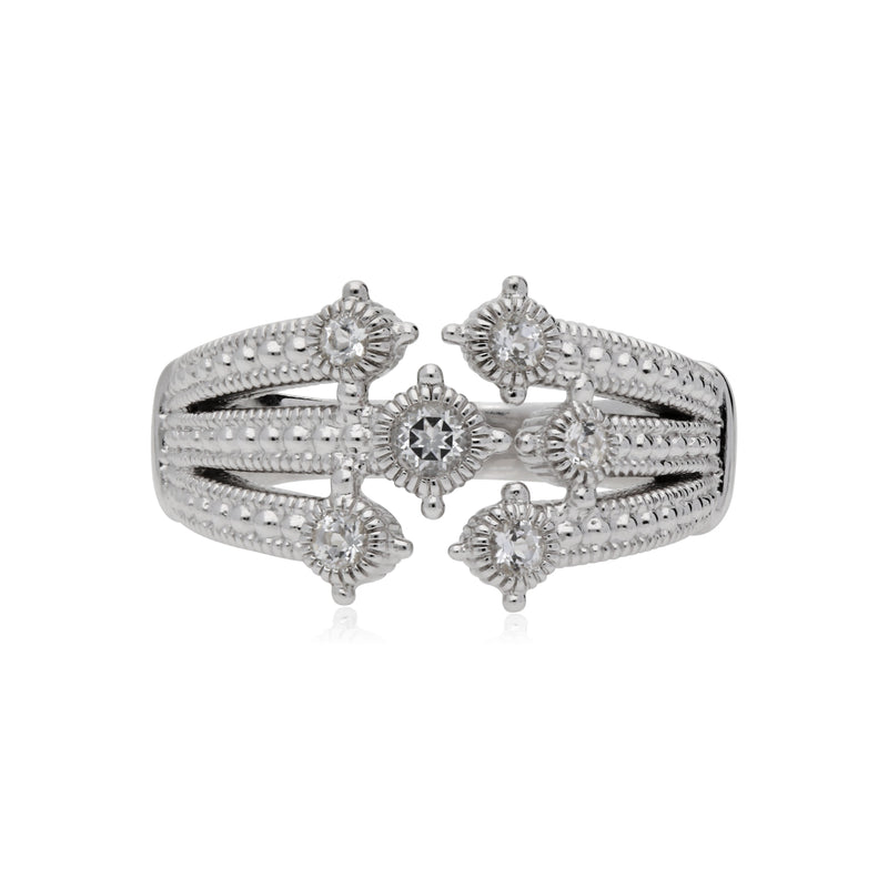 Little Luxuries White Topaz Multi Band Bypass Ring