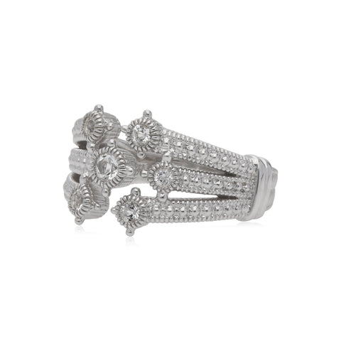 RIPKA Santorini White Topaz Multi Band Bypass Ring