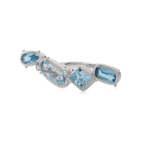 RIPKA Rio Multi Shape Blue Topaz East West Bar Ring with White Topaz Accents