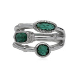 RIPKA Sanibel Faceted Green Quartz Faux Stack Ring