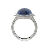 RIPKA Amalfi Large Pear Shape Rose Cut Blue Quartz & Hematite Doublet Ring