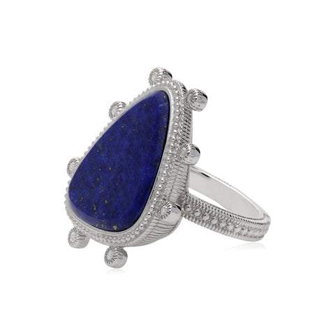 RIPKA Sardinia Large Organic Slice Lapis Ring with White Topaz Accents