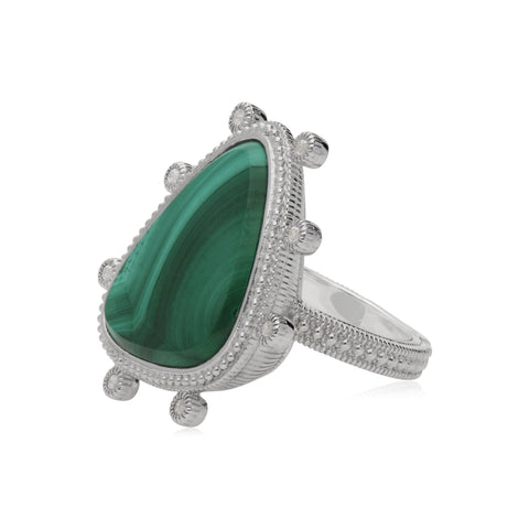 RIPKA Sardinia Large Organic Slice Malachite Ring with White Topaz Accents