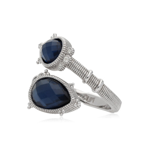 RIPKA Amalfi Double Pear Shape Rose Cut Blue Quartz & Hematite Doublet Bypass Ring with White Topaz Accents
