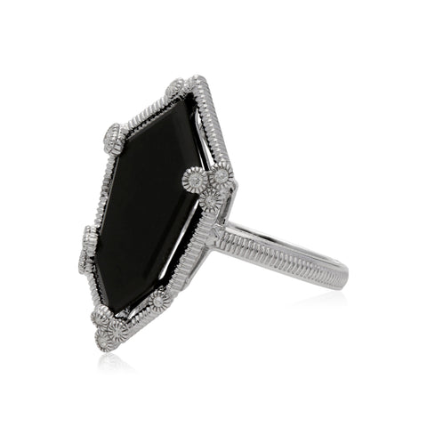 RIPKA Martinique Black Onyx Hexagon Ring with White Topaz Accents