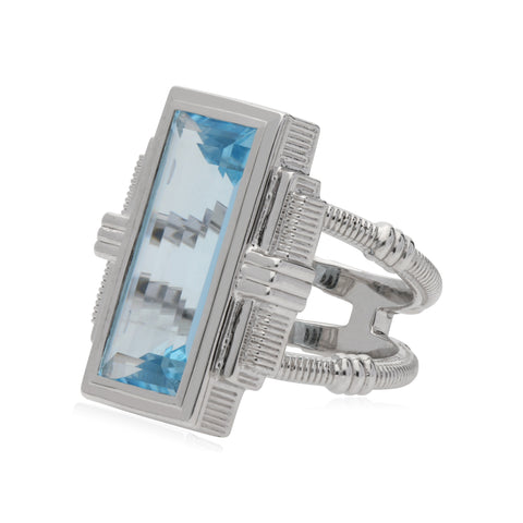 RIPKA Cityscapes Sky Blue Topaz Large Baguette Ring