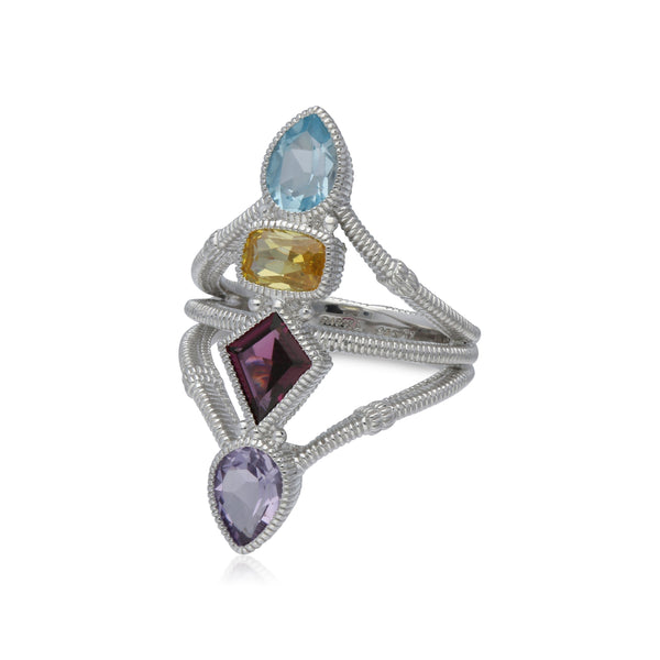 RIPKA Rio Multi Shape Swiss Blue Topaz, Canary Crystal, Rhodolite & Pink Amethyst Split Shank Ring with White Topaz Accents
