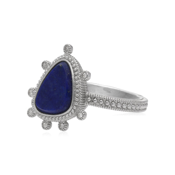 RIPKA Sardinia Small Organic Slice Lapis Ring with White Topaz Accents