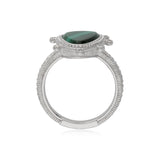 RIPKA Sardinia Small Organic Slice Malachite Ring with White Topaz Accents