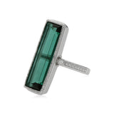 RIPKA Sanibel Emerald Shape Green Quartz Ring with White Topaz Accents