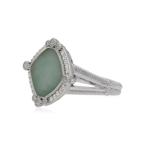 RIPKA Newport Green Jade Cushion Shape Ring with White Topaz Accents