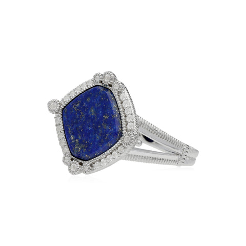 RIPKA Newport Lapis Cushion Shape Ring with White Topaz Accents