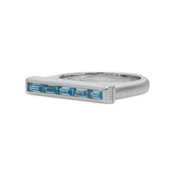 RIPKA Cityscapes Flat Top Swiss Blue Topaz Baguette Stack Ring