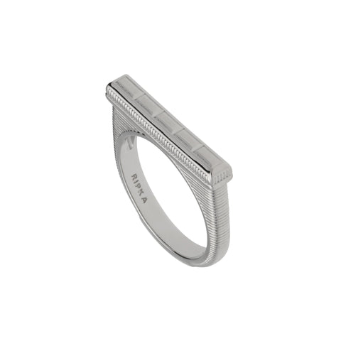 RIPKA Cityscapes Flat Top Silver Baguette Shape Stack Ring