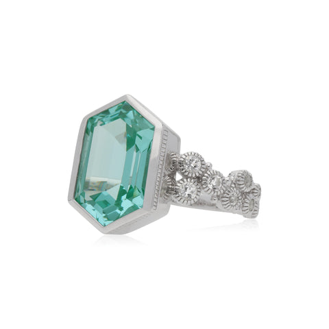 RIPKA Martinique Synthetic Paraiba Spinel Hexagon Ring with Bezel Set White Topaz Accents