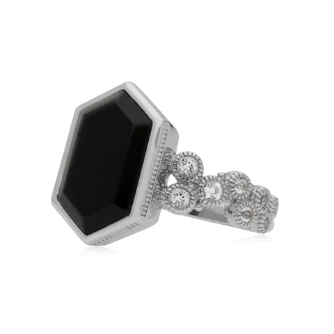 Estate Black Onyx Hexagon Ring with Bezel Set White Topaz Accents
