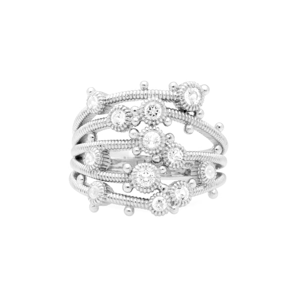 Little Luxuries White Topaz Wide Multi-Band Ring