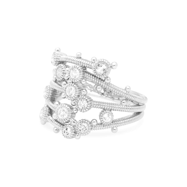 RIPKA Santorini White Topaz Wide Multi-Band Ring