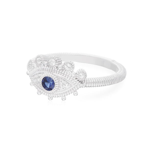RIPKA Lucky Marquis Synthetic Blue Sapphire & White Topaz Evil Eye Ring