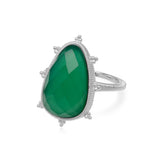 RIPKA Amalfi Large Pear Shape Green Chalcedony Ring