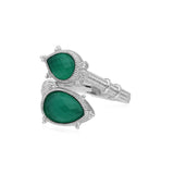 RIPKA Amalfi Double Pear Shape Green Chalcedony Bypass Ring With White Topaz Accents