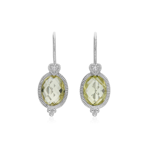 RIPKA Ambrosia Oval Canary CZ Drop Earrings with White Topaz Heart Detail