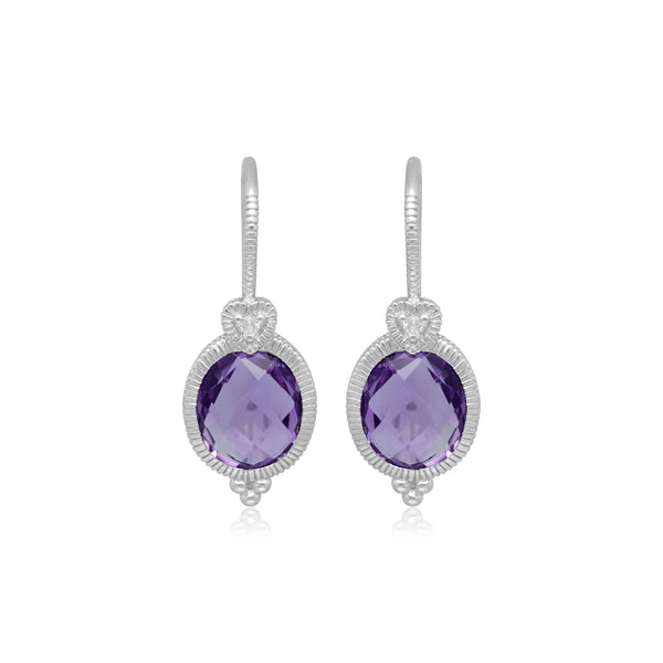 RIPKA Ambrosia Oval Lavender Amethyst Drop Earrings with White Topaz Heart Detail