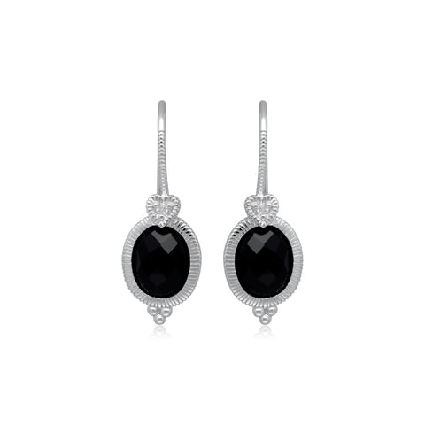 RIPKA Ambrosia Oval Black Onyx Drop Earrings with White Topaz Heart Detail