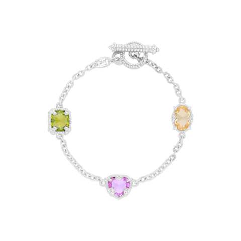 RIPKA Ambrosia Peridot CZ, Synthetic Pink Sapphire, Canary CZ & Rock Crystal Three Stone Bracelet