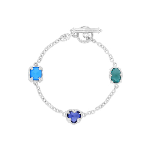 RIPKA Ambrosia Synthetic Turquoise, Synthetic Blue Sapphire, Synthetic Green Quartz & Rock Crystal Three Stone Bracelet