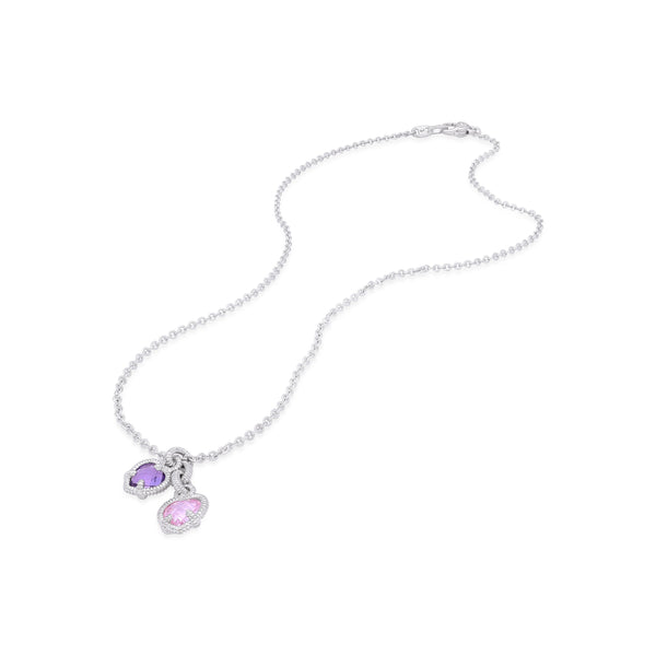 Little Luxuries Amethyst & Pink CZ Heart Charm Necklace