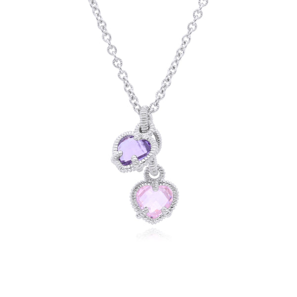 Little Luxuries Amethyst CZ & Pink CZ Heart Charm Necklace