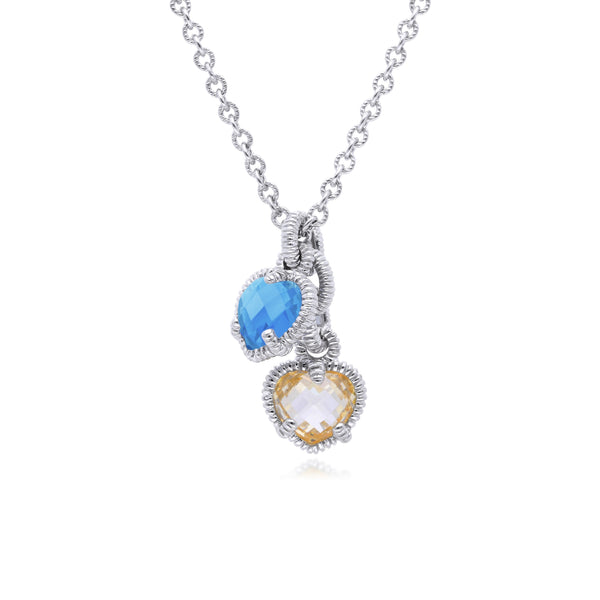 Little Luxuries Synthetic Blue Quartz & Canary CZ Heart Charm Necklace