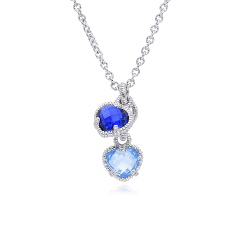 Little Luxuries Synthetic Blue Sapphire & Synthetic Blue Quartz Heart Charm Necklace