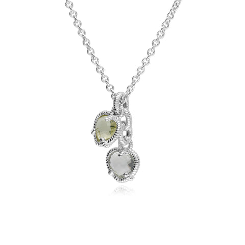 RIPKA La Petite Limon Quartz & Mint Green Quartz Heart Charm Necklace