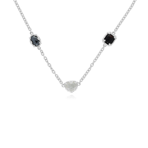 RIPKA Ambrosia Black Onyx, Hematite, & Mother of Pearl & Rock Crystal Doublet Necklace