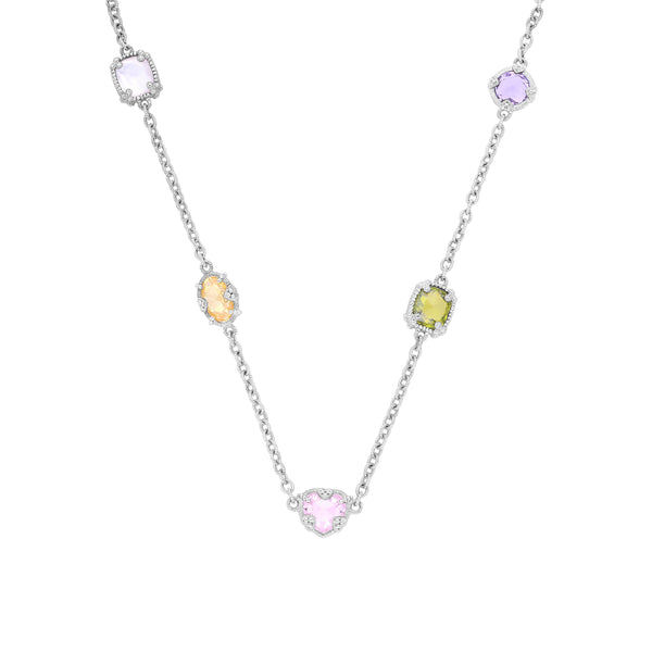 RIPKA Ambrosia Canary Crystal, Rock Crystal Quartz, Pink CZ, Amethyst & Peridot CZ Necklace