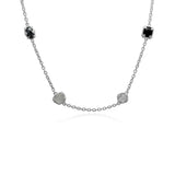 RIPKA Ambrosia Black Onyx, Hematite, & Mother of Pearl & Rock Crystal Long Necklace