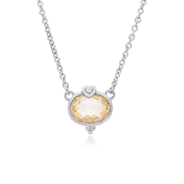 Little Luxuries Canary CZ Oval Pendant with White Topaz Heart Detail
